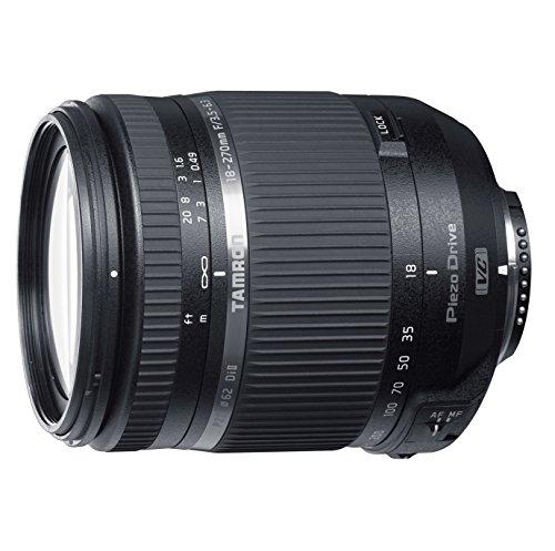 Tamron TS 18-270mm F/3.5–6.3Di II VC PZD - Objetivo para cámara Nikon, 62 mm, distancia focal 18-270 mm, apertura f/3.5 - 6.3, estabilizador óptico, color Negro