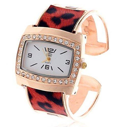 ParaCity (TM) Armbanduhr für Damen, Mädchen, Dekoration, Armreif-Design, Rot