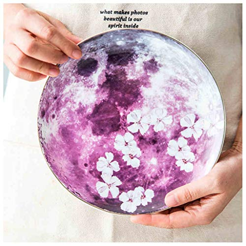 YYF Assiette de ménage en céramique avec assiette en céramique, doré, 9,5 pouces (Color : Purple)