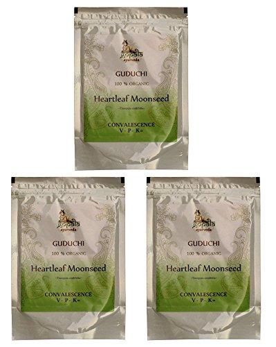 Bio GUDUCHI Pulver (250g - 3er pack) Tinospora cordifolia - 100% Bio-zertifiziertes pflanzliches Nahrungsergänzungsmittel der Lacon GmbH