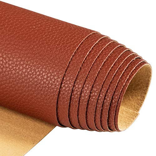 "Soft Synthetic PU Fabric Material Faux Leather Sheets 1 Yards 54"" x 36"", 0.95mm Thick for Upholstery, DIY Crafts, Litchi Pebbled Pattern Brown"