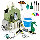 amzdeal Gardening Tool Kits 34Pieces Heavy Duty Aluminum Garden Tools Set Indoor and Outdoor Hand Planting Gardening Kits Gardening Gifts Tools with Ergonomic Handle