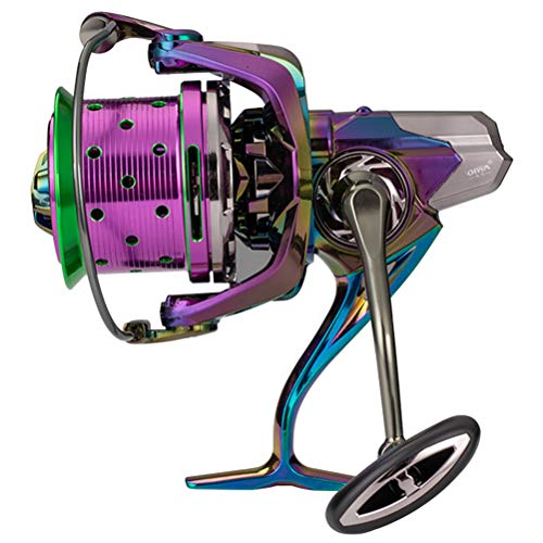 Abaodam Hermoso color de metal largo – Rueda de lanzamiento, carrete de pesca, carrete de pesca, carrete de pesca, pesca de pesca; caña de pescar (colorido)