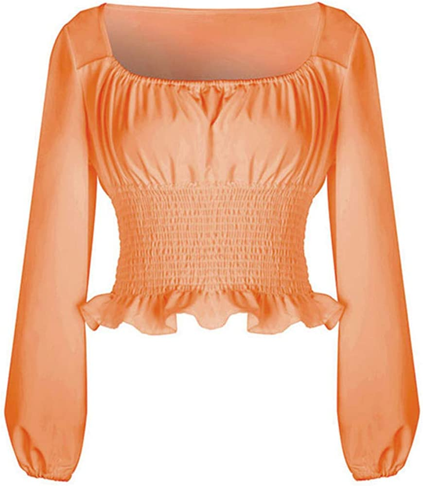 Mujer Color Sólido Camiseta - Manga Larga Cuello Cuadrado Blusa Moda Manga Abullonada T-Shirt Otoño Primavera Casual Camisa Top
