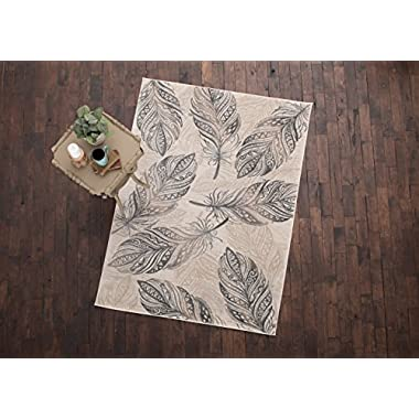 Mayberry Rugs INT7432 Feather Cream Area Rug, 5'3  x7'3
