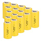 Ni-Cd Rechargeble Battery Sub C SC Batteries, 1.2V 2200 mAh with Tabs for Power Tools Battery Pack,12 Pack SC Batterries,Yellow