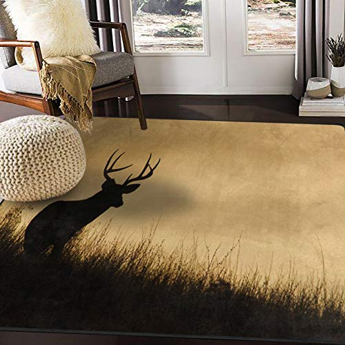 ALAZA Deer Silhouette Forest Landscape Nature Area Rug Rugs for Living Room Bedroom 7' x 5'