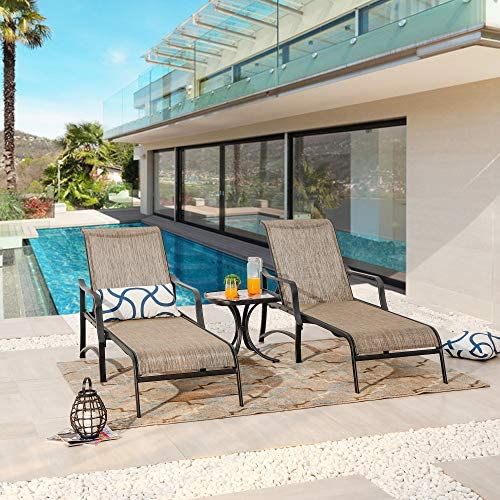 Best PatioFestival Patio Chaise Lounge Outdoor Adjustable Back Metal Lounge Chair with Bistro Table 3 Pie