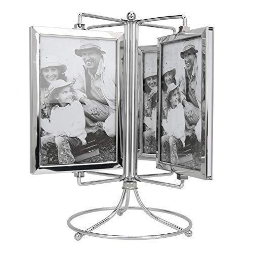 JYLSYMJa Cadre Photo de Style Rotatif, Support de Cadre Photo en métal pour la Maison avec Base Stable et 8 côtés en Verre, Restaurants, Cadre de Menu de cafés pour Photo 4x6 Pouces