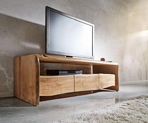 DELIFE Fernsehtisch Live-Edge Akazie Natur 145 cm Ablagefach offen Baumkante Lowboard