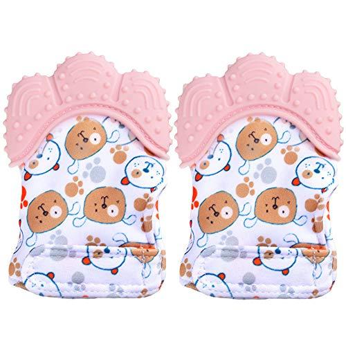 Paquete de 2 manoplas de dentición para bebés BPA lavables y duraderas manoplas de dentición guantes de protección para bebés que previenen los rasguños (rosa)