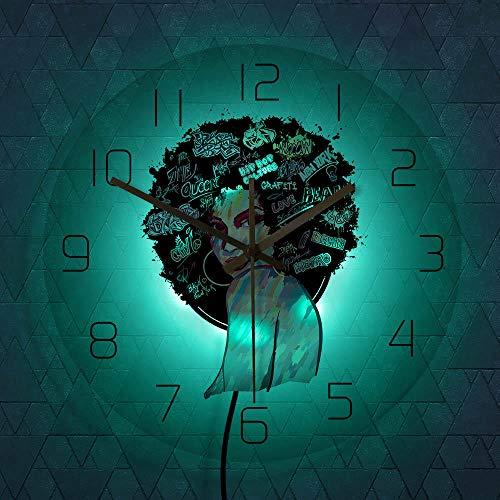 KKLLHSH Mujer Pintura Silueta Acrílico Impreso Reloj de Pared Arte Abstracto de la Pared Decoración contemporánea para el hogar Reloj de Pared silencioso Iluminación LED 12 Pulgadas