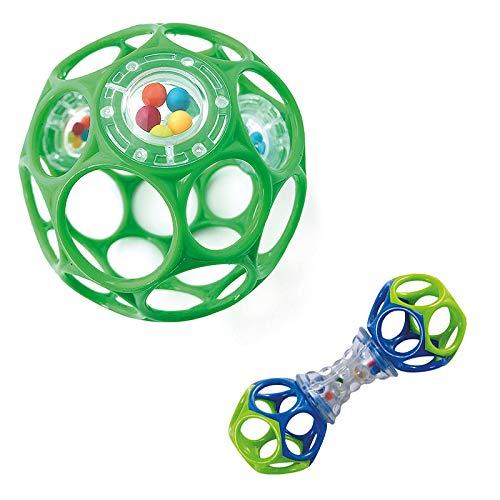 planetextra Oball Rattle Set - Flexibles und leicht greifbares Design, für Kinder jeden Alters, Motorikspielzeug, Spielzeug mit Rassel (1x Oball Rattle 10cm grün mit 1x Oball Shaker)