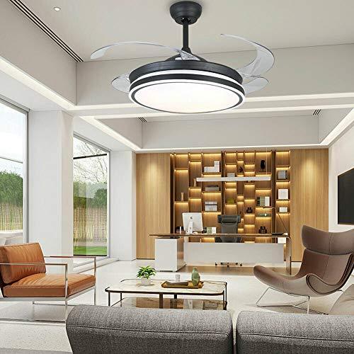 Ventilador de techo LED con 4 cuchillas retráctiles de 100 cm, silencioso y duradero, luces LED regulables con 3 velocidades de viento con mando a distancia para oficina, dormitorio