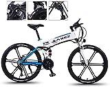 Ebikes, bicicleta eléctrica de la bicicleta de montaña 350w 26 '' Bicicleta de doble suspensión dual plegable de MTB con rueda integrada de aleación Super Magnesio, engranaje de 27 velocidades y tres