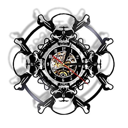 XYLLYT Reloj de Pared con Disco de Vinilo de Calavera, Reloj de Pared con Calavera de años, Reloj de Pared con decoración de Halloween para Hombre Vampiro y Calavera