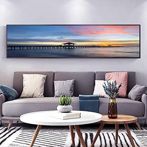 Moderno clásico mar atardecer puente de caballete paisaje arte lienzo pinturas pared imágenes artísticas para decoración de sala de estar 40x120cm sin marco