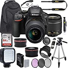 Nikon D5600 DSLR Camera Video Kit with AF-P 18-55mm VR Lens + LED Light + Deluxe Backpack + 64GB Memory + Professional Photo Accessories (19 Items)