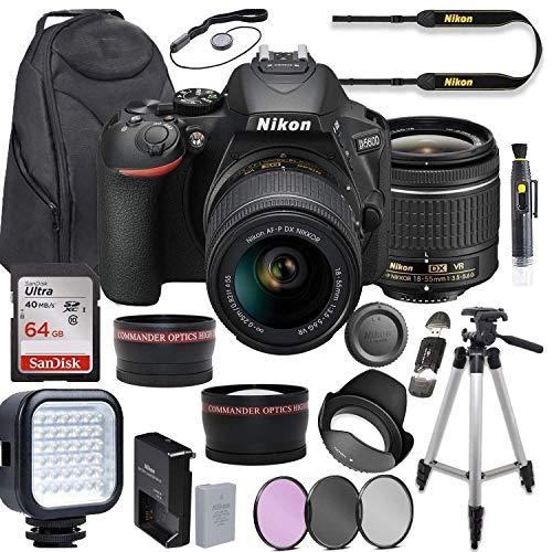 Purchase Nikon D5600 DSLR Camera Video Kit with AF-P 18-55mm VR Lens + LED Light + Deluxe Backpack +...