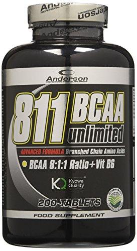 Anderson 811 BCAA Unlimited Kyowa, Integratore, Aminoacidi Ramificati 811 con Vitamina B6, 200 Compresse da 1.2g