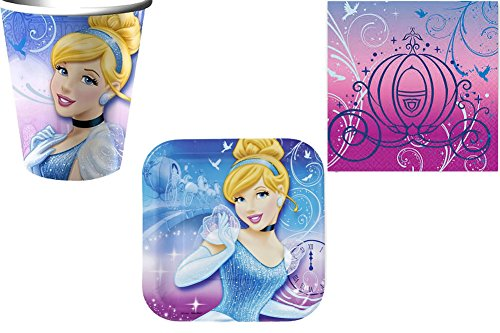 Amazing Deal Cinderella Birthday Party Supplies Set Plates Napkins Cups Kit for 16