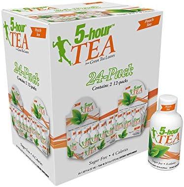 5 Hour Energy 5 Green Tea Leaves Peach Tea 24 X 1 93 Fl oz Net wt 46 32 Fl Oz 46 32 fl oz product image