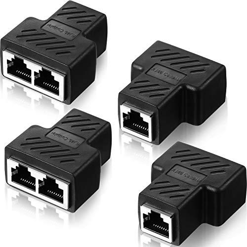4 Stück RJ45 Ethernet Splitter Anschlüsse 1 bis 2 Splitter Stecker Adapter LAN Ethernet Steckverbinder Kompatibel mit Cat5 Cat6 Kabel, Zwei Computer können Gleichzeitig im Internet surfen