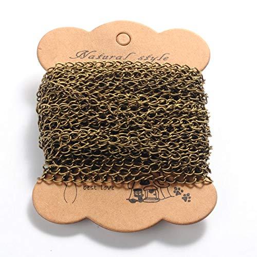 PandaHall - Cadenas trenzadas de hierro de 10 metros, 5,5 x 3,5 x 0,5 mm, bronce antiguo sin soldar, para manualidades, pulseras, collares y joyas