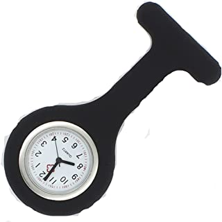 New Silicone Quartz Movement Nurse Brooch Fob Tunic Pocket Watch Black
