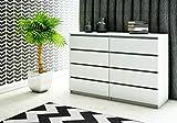 Megaastore - Cómoda con 8 cajones, armario auxiliar multiusos, 120 x 35 x 99 cm, color blanco