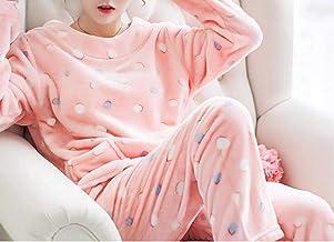 Love Life/Sweet Plus Velvet Thick Coral Fleece Pajamas Two-Piece Long Pants Flannel Home Service Suit (Color : O, Size : M)