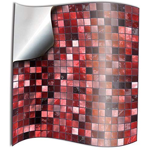 Tile Style Decals 24 stück Fliesenaufkleber für Küche und Bad 24xTP3-6-Red | Mosaik Wandfliese Aufkleber für 15x15cm Fliesen | Deko Fliesenfolie für Küche u. Bad (15cm 24 stück, Rot)
