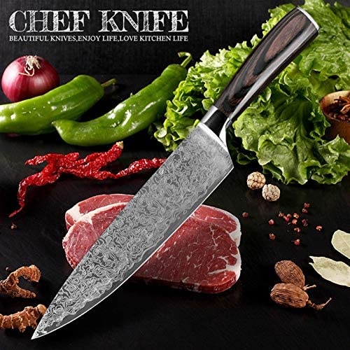 8Inch Chef Mes Japanse Damascus Staal Patroon Professionele Keuken Messen Utility Santoku Cleaver Fileting Home Tool Color8 in bread knife
