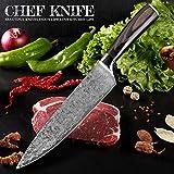 SASCD 8'Pulgadas Chef Cuchillo japonés Damasco de Acero patrón Profesional Cuchillos de Cocina Utilidad Santoku Cleaver Fileting Herramienta de Inicio (Color : 7 in Cleaver Knife)