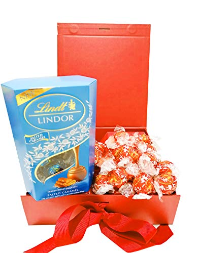 Auris Lindt Lindor Red Chocolate Hamper Gift Box with Milk Chocolate 200g Truffles and Salted Caramel Truffles 200g Birthday Gift,Anniversary for Him and Her Dads Chocolate Gift Get Well Soon