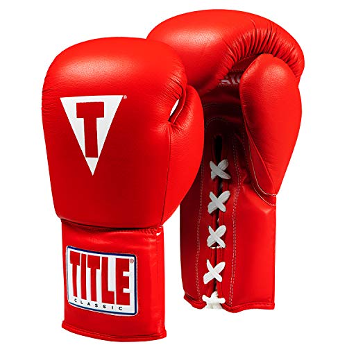 Title Classic Leather Lace Training Gloves 2.0, Red, 16 oz