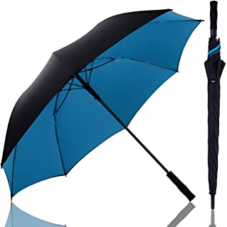 傘 長傘 メンズ レディース ワンタッチ ゴルフ傘 – sunnyskies 2重PG布 テフロン超撥水 210T高強度グラスファイバー 耐強風 超頑丈 直径130cm 大型 家族守る 自動開けステッキ傘 梅雨対策 晴雨兼用 収納ポーチ付き 2年品質保証(ブルー)