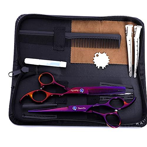 XJPB Tijeras de Corte de Cabello Profesional Set Peluquería Tijeras Kit Acero Inoxidable 6.0 Pulgadas para el hogar Salón Barber Men Mujeres Púrpura