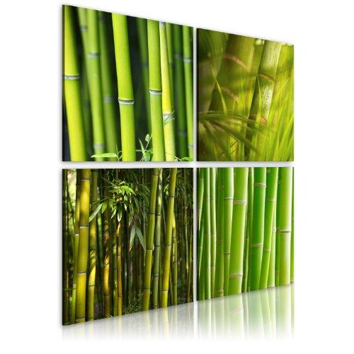 murando - Bilder Bambus 40x40 cm Vlies Leinwandbild 4 Teilig Kunstdruck modern Wandbilder XXL Wanddekoration Design Wand Bild - Natur grün 030210-82