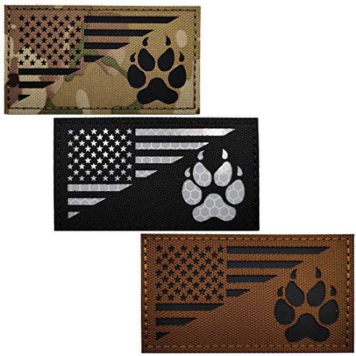 IR K9 Dog Handler Paw K-9 USA Flag Infrared Tactical Morale Embroidered Patch Applique with Hook and Loop Fastener Backing for Medium and Large Animal Vests Harnesses (Black Coyote Multicam)