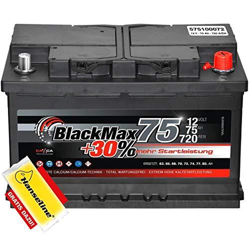 Autobatterie 12V 75Ah BlackMax 30% mehr Leistung statt 66Ah 70Ah 72Ah 74Ah inklusive Polfett