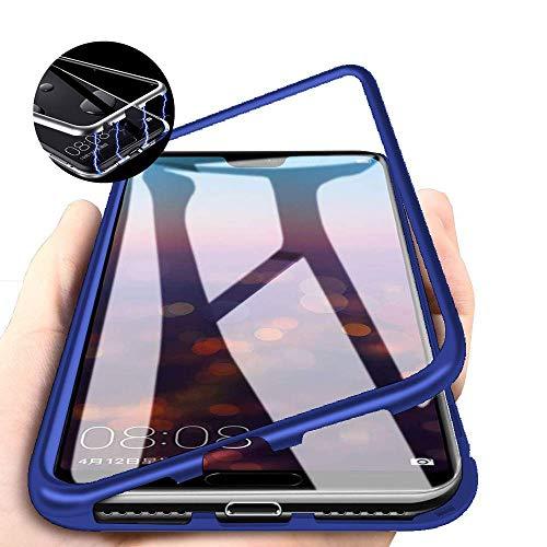 CHENYING Kompatibel für Samsung Galaxy A9 2018 /A920 Hülle Magnetische Adsorption Technologie Metallrahmen 360 Grad Schutzhülle Transparent Gehärtetes Glas Rückseite Handyhülle Cover,Blau