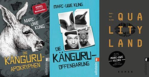 Marc-Uwe Kling Die Känguru-Offenbarung + Die Känguru-Apokryphen + Qualityland + 1 passende Postkarte