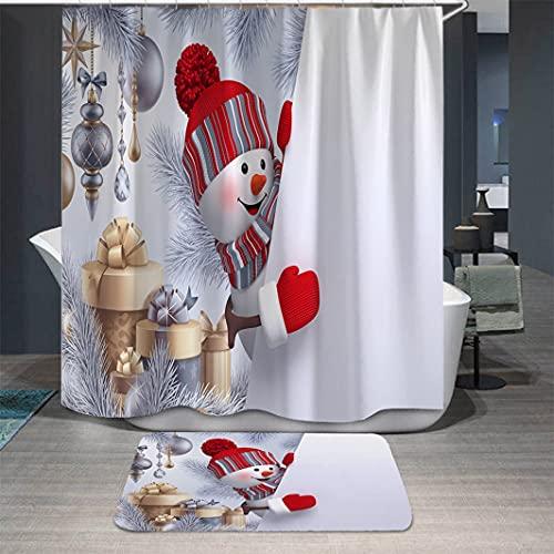 PKJUH Cortina de la duchaCortina de Ducha navideña, Cortina de baño de Tela de poliéster con Gancho, Accesorios de baño Impermeables, Conjunto de Cortina de Ducha