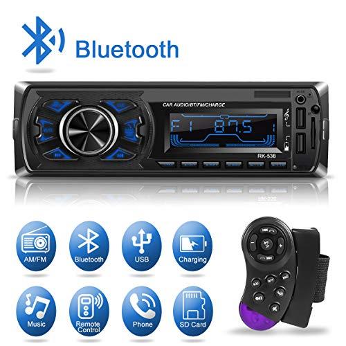 1 Din Autoradio Bluetooth, Kakanuo Radio Stéréo Voiture, 2 Ports USB Charger Téléphone&USB Clé, Card Slot SD/MMC Max 32G Mémoire, Lecteur FM/MP3/USB/SD/WMA/AUX Télécommande, 7 Couleurs...