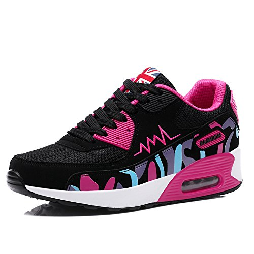 PADGENE Femme Baskets Mode Chaussures Sport Course Sneakers Fitness Gym athlétique Multisports Outdoor Casual,Noir Rose,37 EU