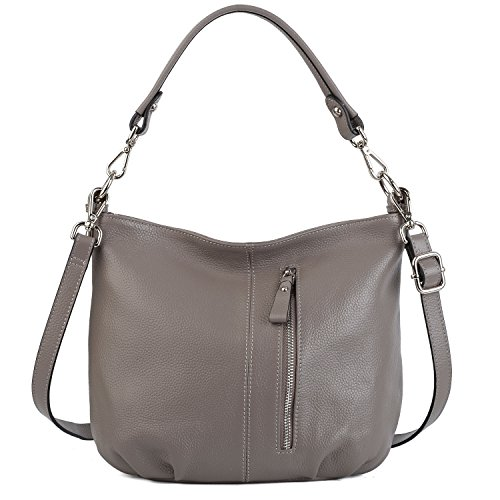 YALUXE Women's Front Pocket Soft Cowhide Leather Small Mini Purse Style Shoulder Bag Grey