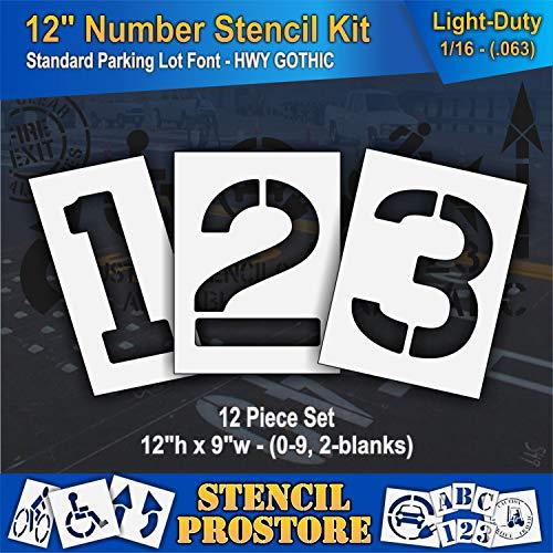Pavement Stencils - 12 inch Number KIT Stencil Set - (12 Piece) - 12' x 9' x 1/16' (63 mil) - Light-Duty