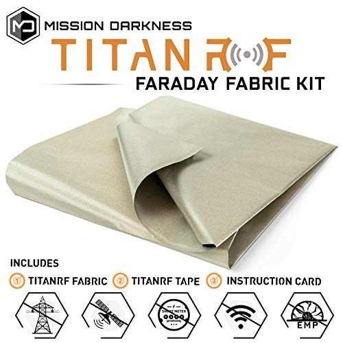 Mission Darkness TitanRF Faraday Fabric - Military Grade Fabric Blocks RF Signals (WiFi, Cell, Bluetooth, etc.) - Dims: 44in W x 36in L / 11sq ft / 1.22 sq yds - Includes 12in L Conductive Tape