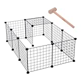 Pawhut D06-055 DIY Pet Playpen Metal Wire Fence 12 Panel Enclosure Indoor Outdoor Guinea Pig Rabbit Small Animals Cage, Black